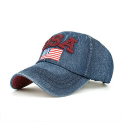 Embroidered USA flag denim baseball cap