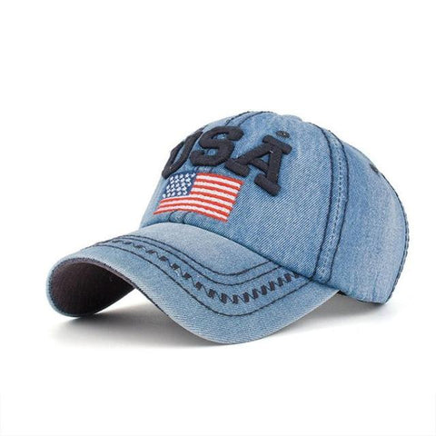 Embroidered USA flag denim baseball cap-Sinbadco