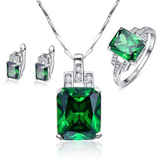Emerald Silver 925 Sterling Pendant Necklace with Earrings Stud Set Green Rings Sz 6-9 for Women-Sinbadco