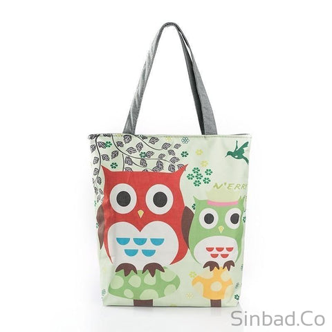 Floral And Owl Printed Women'S Casual Tote-bag-Sinbadco
