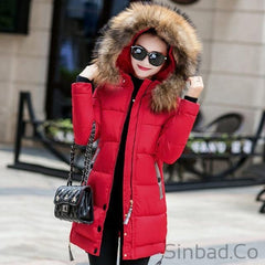 Fur Hooded Parka Long Cotton Padded Winter Coat