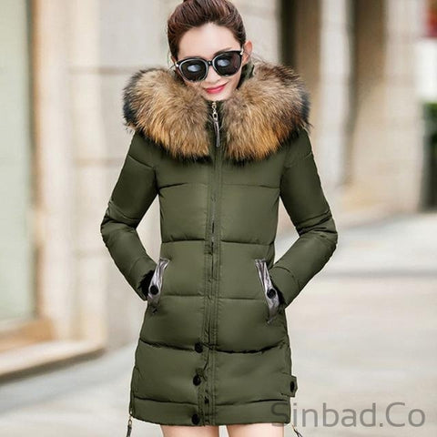 Fur Hooded Parka Long Cotton Padded Winter Coat-Sinbadco