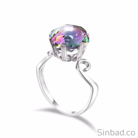 Genuine Rainbow Fire Mystic Topaz Ring-Rings-Sinbadco