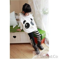 Girls 2Pcs Outfits Panda Long Sleeve Tops+Striped Pant
