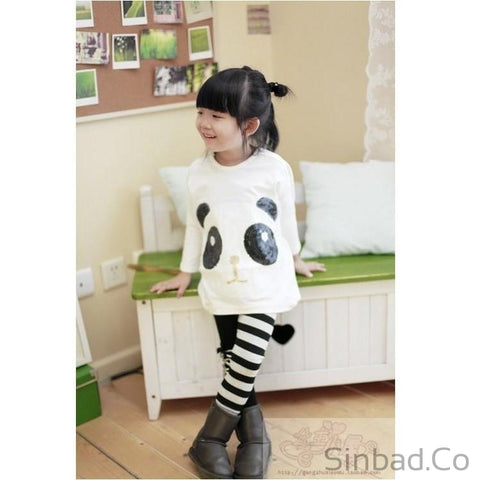Girls 2Pcs Outfits Panda Long Sleeve Tops+Striped Pant-Girls legging-Sinbadco