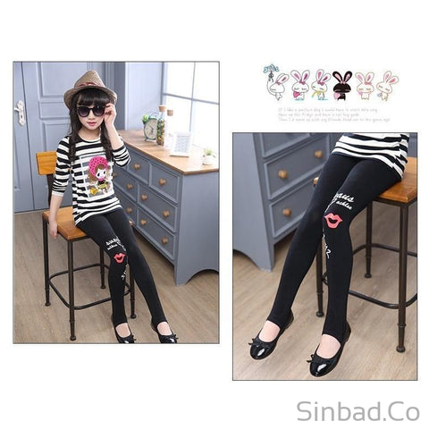 Girls Black Thin Girl Spring Cotton Leggings-Girls legging-Sinbadco