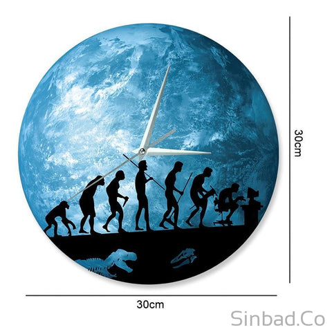 Glowing In The Dark Human evolution Clock-Sinbadco