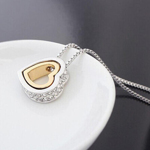 Gold-Color Austrian Crystal Luxury Brand Heart Necklaces & Pendants-Sinbadco