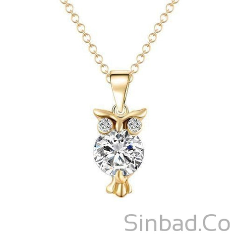 Gold Color Chain Necklace Crystal Zircon Lovely Animal Owl Pendants Silver Color Necklaces Jewelry For Women Gift-Sinbadco