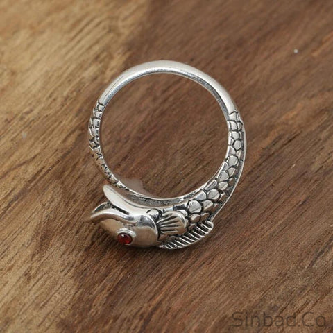 Goldfish Retro Thai Silver Ring-Rings-Sinbadco