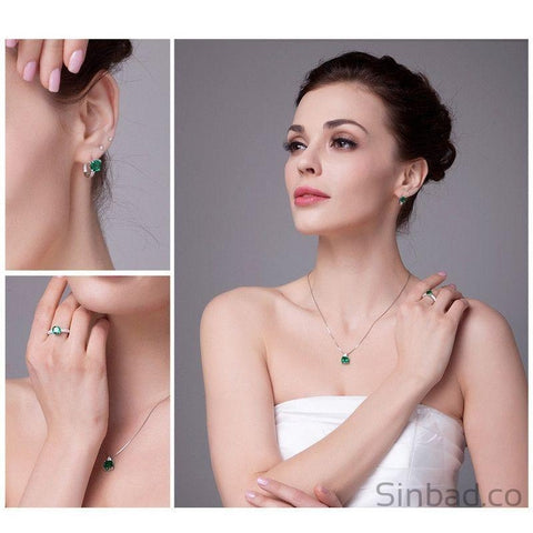 Gorgeous Emerald Jewelry Set-Jewelry Sets-Sinbadco