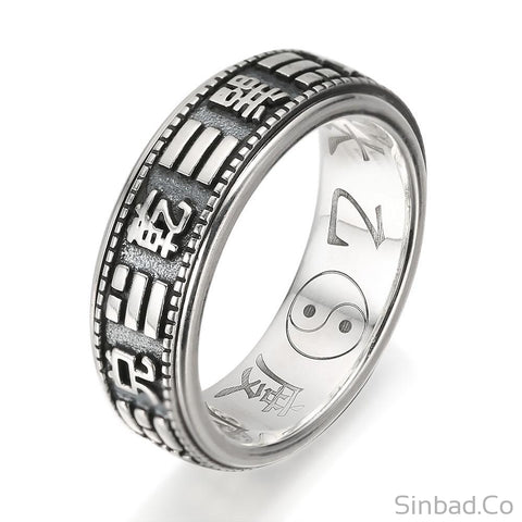 Gossip Bagua Rotatable Thai Silver Ring-Rings-Sinbadco