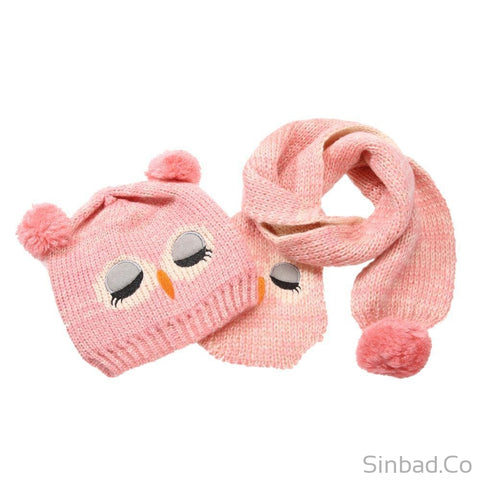 Handmade Wool Knitted Owl Hat+Beanie Scarf- 5 colors-Sinbadco