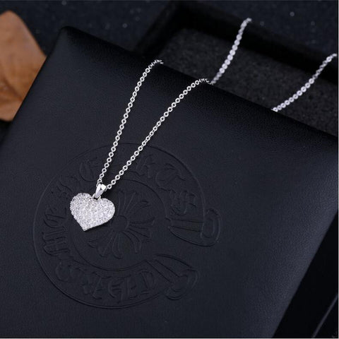 Heart Shape Crystal Necklace- White & Gold Color-Sinbadco
