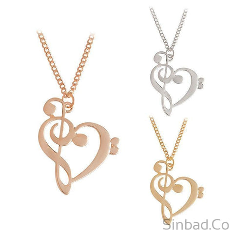Heart Shaped Musical Note Necklace-Necklaces-Sinbadco