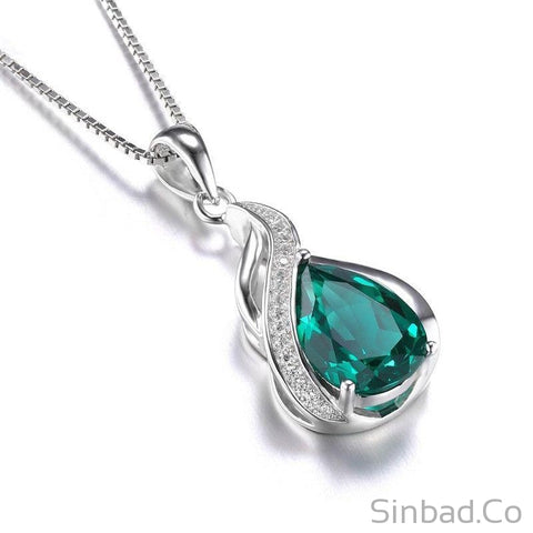 High Quality Created Emerald Pendant-Pendant-Sinbadco