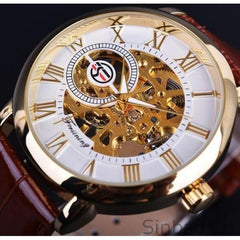 Hollow Engraving Black Gold Case Skeleton Men's Watch