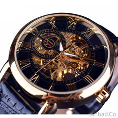 Hollow Engraving Black Gold Case Skeleton Men's Watch-Sinbadco