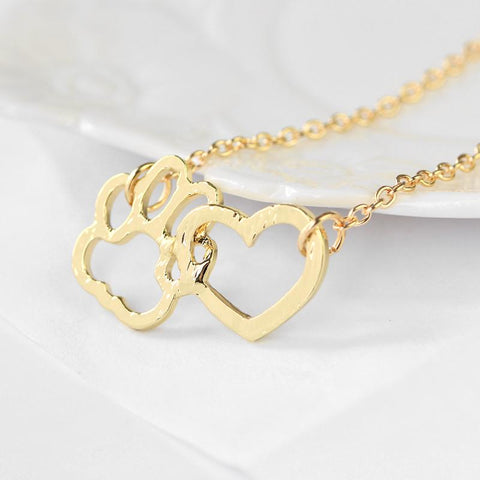 Hollow heart pet memorial charm necklace 9 style animal love gift-Sinbadco