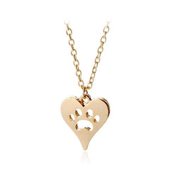 Hollow heart pet memorial charm necklace 9 style animal love gift