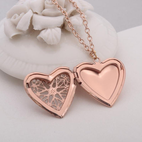 Hollow Love Heart DIY Openable Secret Message Locket Necklace Pendant 6 Colors-Sinbadco
