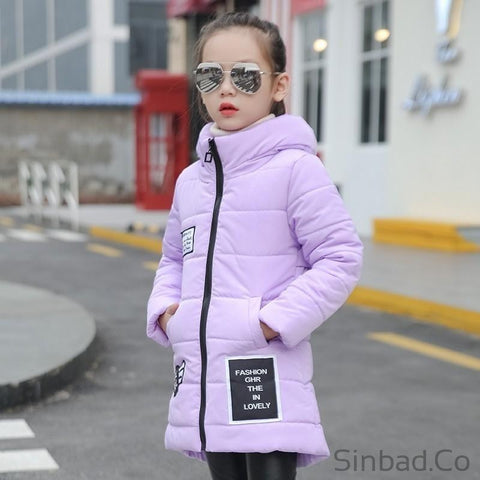 Hooded Medium-long cotton-padded Girls jacket-Sinbadco