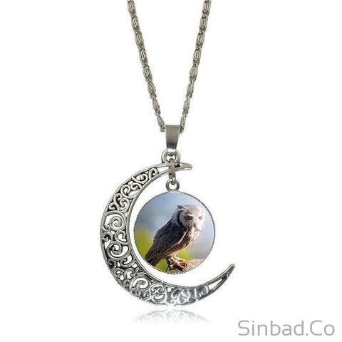 HOT SALE OWL & MOON SILVER NECKLACE-Necklaces-Sinbadco