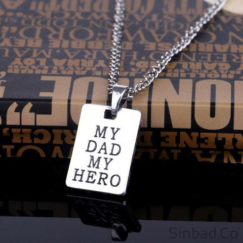 I Love You My Dad My Hero Necklace-Pendant-Sinbadco