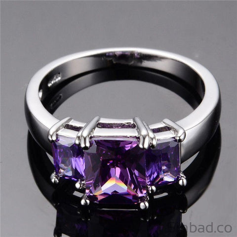 July Birthstone Purple Ring-Rings-Sinbadco