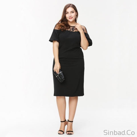Lace Patchwork Bodycon Big Size Pencil Dress-Dress-Sinbadco