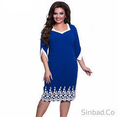 Lace Patchwork Women Dress 2017 Autumn Style Plus Size-Dress-Sinbadco