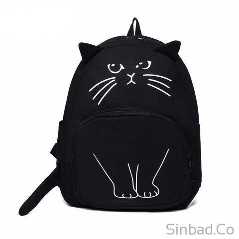 Lovely Cat Printing Backpack-Backpack-Sinbadco