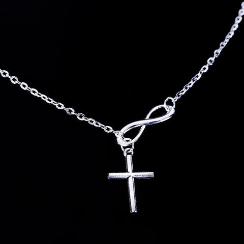 Lovely Chic Infinity Cross on a Long Silver Chain Necklaces-Sinbadco