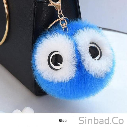 Lovely Fluffy Fur Owl Keychain-Sinbadco