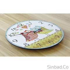 Lovely Owls Couple Wood Large Wall Clock