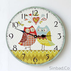 Lovely Owls Couple Wood Large Wall Clock-Sinbadco