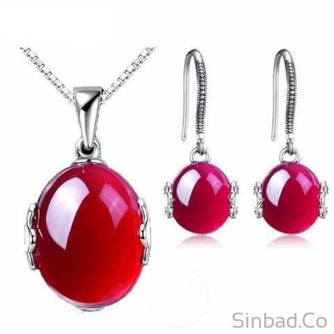 Luxury Created Rubis Jewelry Sets-Jewelry Sets-Sinbadco