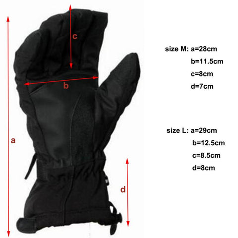 Men's Ski Fleece Snowboard Windproof Waterproof Unisex Snow Gloves-Sinbadco
