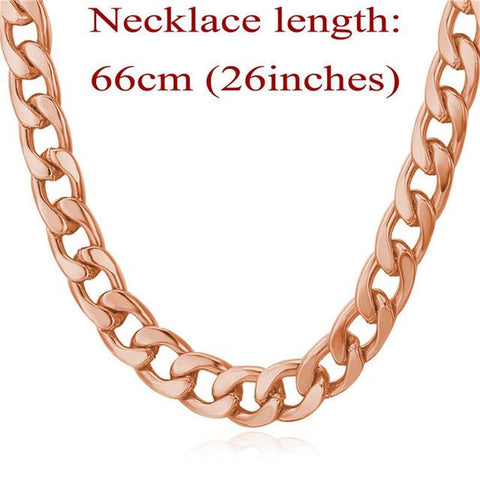 Miami Cuban Link Chain Necklace 7mm Silver/Gold Color-Sinbadco