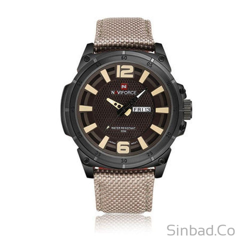 Military Watch Leather Canvas Strap Man-WATCHES-Sinbadco