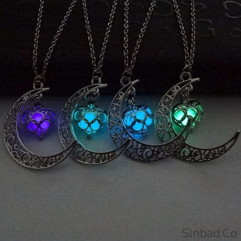 Moon Glowing Charm Silver Necklace-Pendant-Sinbadco