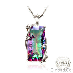 Natural 16Ct Rainbow Topaz Necklace