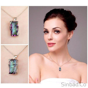 Natural 16ct Rainbow Topaz Necklace-Sinbadco