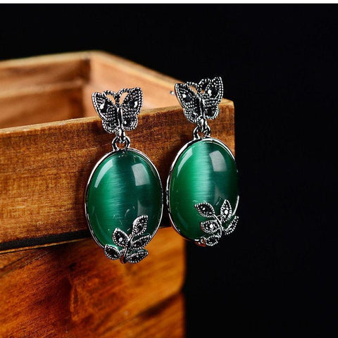 Natural Green Agate Stone Stud Earrings-Earrings-Sinbadco