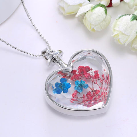 Natural Real Red Decorative Dried Flowers Necklace-Sinbadco