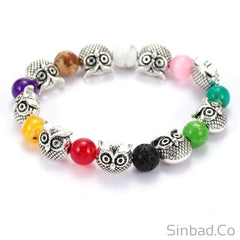 Natural Stone Owl Colorful Beaded Bracelet