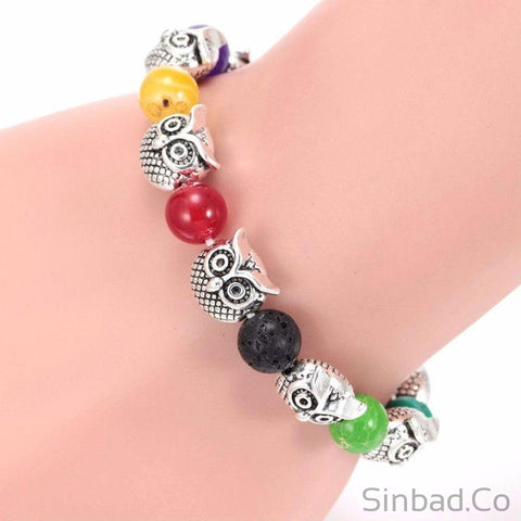 Natural Stone Owl Colorful Beaded Bracelet-Bracelets-Sinbadco
