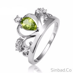 Natural Stone Peridot Crown Silver Ring