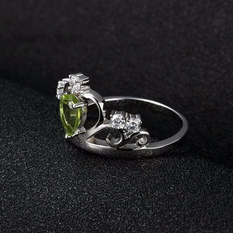 Natural Stone Peridot Crown Silver Ring-Fine Jewelry-Sinbadco