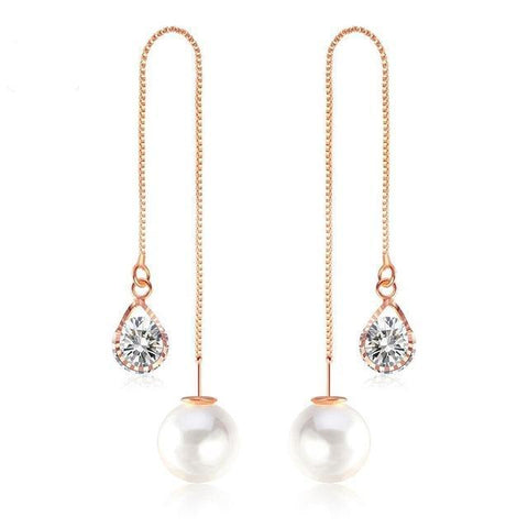 New Water Drop Shape Austrian Crystal Long Stud Earrings with big Pearl Elegant Gold-color Jewelry for Women-Sinbadco